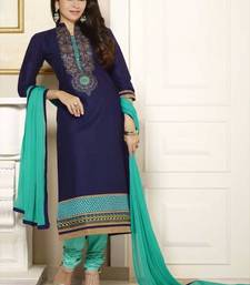 Buy Blue cotton embroidered semi stitched salwar with dupatta party-wear-salwar-kameez online