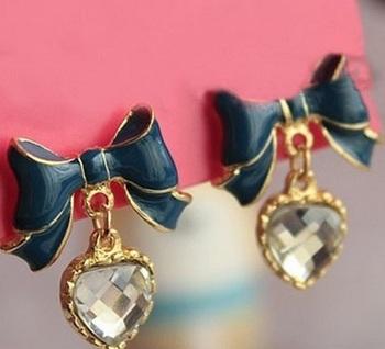 Hanging Heart Drop Studs