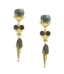 Buy Golden Earrings with  Labrorite Black Onex Stone danglers-drop online