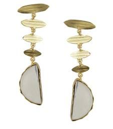Buy Golden Earrings with White Bhatti Stone danglers-drop online