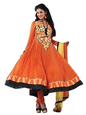 Triveni Charismatic Orange Indian Traditional Anarkali Suit TSXSNSK5555