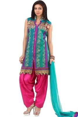 Teal Green and Magenta Net Embroidered Salwar Kameez