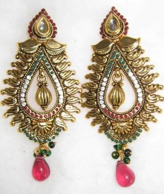 Ruby red green GOLD TONE POLKI temple design DANGLER Bollywood EARRINGS
