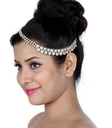 Buy Designer 2 Line Matha Patti For Wedding Gold Finishing with Pearl and Stone in White hair-accessory online