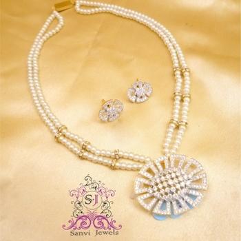 Pearl & American Diamond Necklace