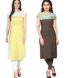 Buy Yellow and brown faux crepe printed stitched kurti long-kurti online