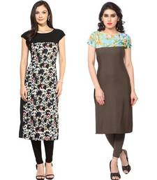Buy Black and brown faux crepe printed stitched kurti long-kurti online