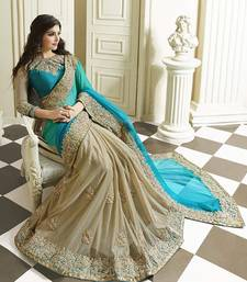 Buy aqua blue embroidered georgette saree With Blouse georgette-saree online
