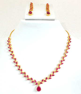 Ruby Designer Necklace Set For Women
