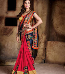 Buy blue and red embroidered satin and georgette saree With Blouse party-wear-saree online