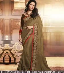 Buy dark green embroidered chiffon saree With Blouse tamanna-bhatia-saree online