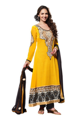 Fabdeal Party Wear Yellow & Black Colored Pure Georgette Salwar Kameez