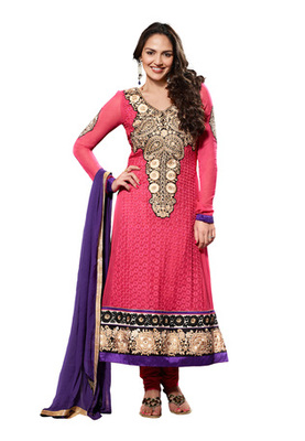 Fabdeal Party Wear Peach Colored Pure Georgette Salwar Kameez