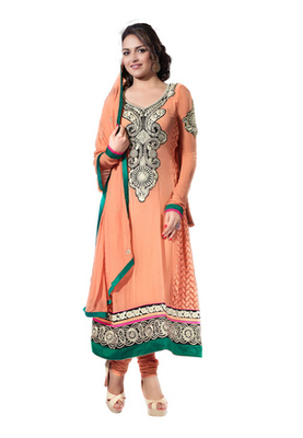 Fabdeal Party Wear Light salmon Colored Pure Georgette Salwar Kameez