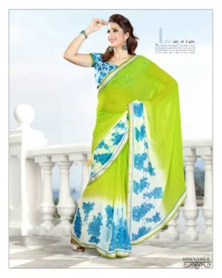 Printed Georgette Saree In Multi Shades With Golden Lace Border Along With Georgette Blouse.