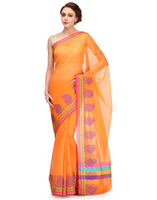 orange woven super net saree With Blouse