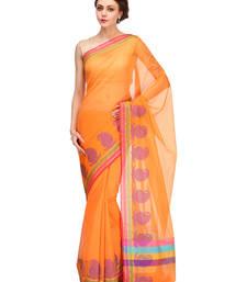 Buy orange woven super net saree With Blouse supernet-saree online