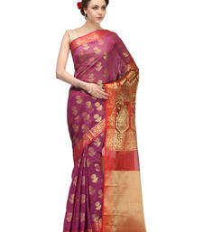 Buy magenta woven blended cotton saree With Blouse cotton-saree online