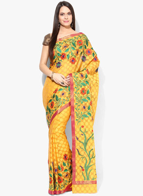 golden woven super net saree With Blouse