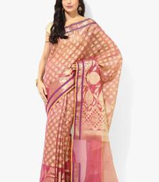 Buy magenta woven super net saree With Blouse supernet-saree online