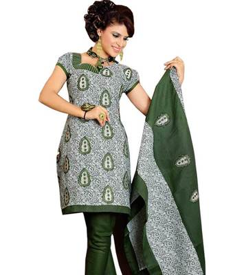 Kalazone Green Cotton Embroidery Salwaar Kameez: WD20327