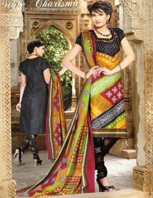 Radiant Black Printed Cotton Dress MaterialD.No PB11007