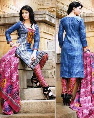 Alluring Blue Printed Cotton Dress Material D.No PB11026