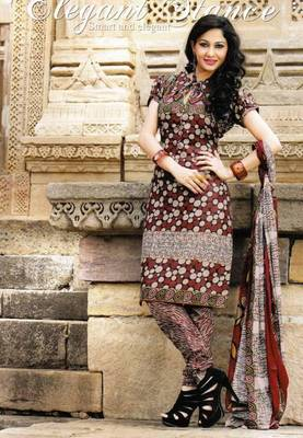Beautiful Brown Printed Cotton Dress Material D.No PB11029