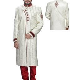 Buy White brocade wedding sherwani wedding-sherwani online