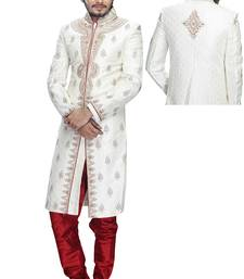 Buy White brocade wedding sherwani wedding-sherwani online