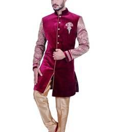 Buy burgundy purple velvet printed Jodhpuri Sherwani men-festive-wear online