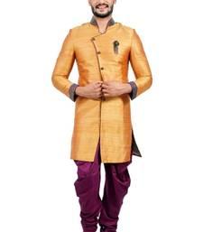 Buy burnt orange dupion silk indo western dresses indo-western-dress online