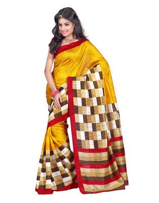 Golden & Red Colored Bhagalpuri Silk Saree