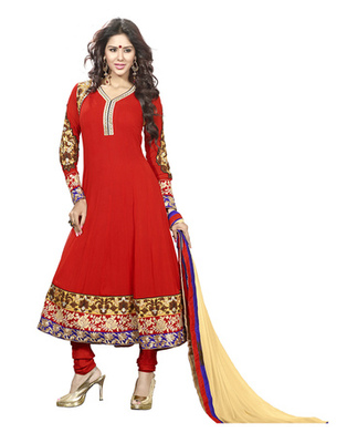 Red & Cream Colored Faux Georgette Semi-Stitched Salwar Suit