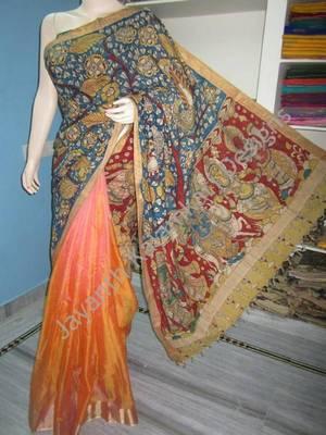 kalamkari half and half sarees