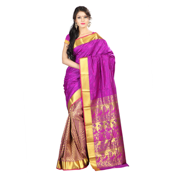 purple hand woven kanchipuram silk saree With Blouse