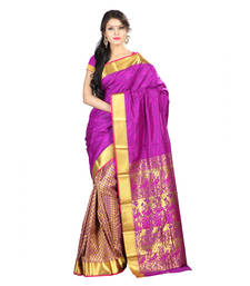 Buy purple hand woven kanchipuram silk saree With Blouse kanchipuram-silk-saree online