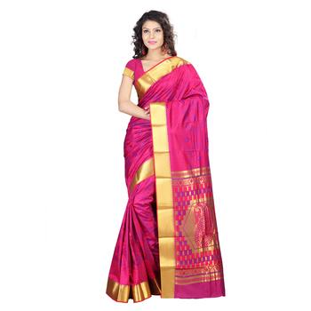 Pink hand woven kanchipuram silk pattu saree with blouse