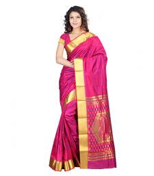 Buy pink hand woven kanchipuram silk saree With Blouse kanchipuram-silk-saree online