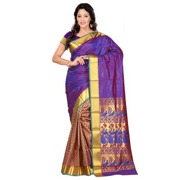 violet hand woven kanchipuram silk saree With Blouse