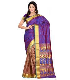 Buy violet hand woven kanchipuram silk saree With Blouse kanchipuram-silk-saree online