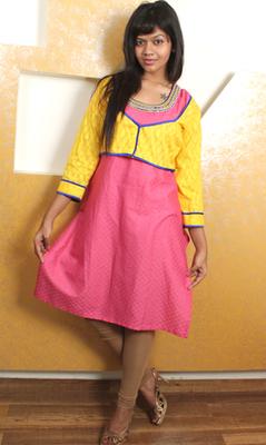 Pink Beaded Kurti with Yellow Shrug