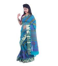 Buy green printed super net saree With Blouse supernet-saree online