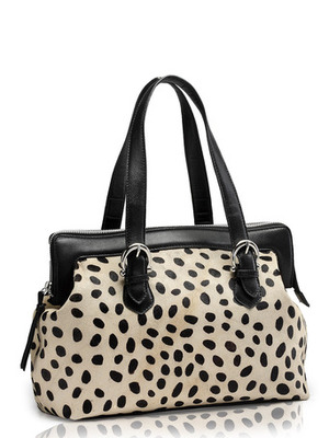 """Phive Rivers-Dots, Genuine Leather Women Shoulder Bag with colour : """"Black& White"""""""