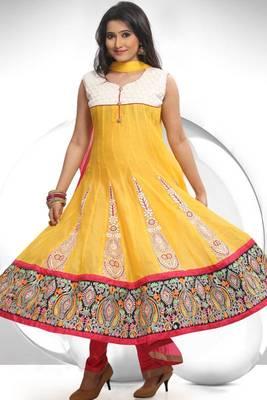 Off-white and Mustard Yellow Chanderi Readymed Cotton Anarkali Salwar Kameez