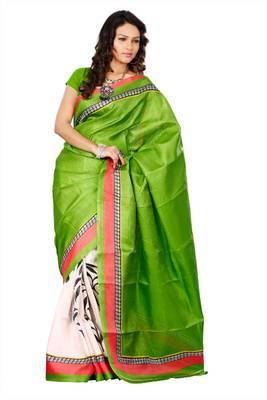 Jute silk indian ladies wear green printed saree 172