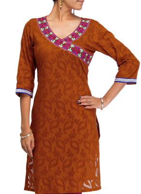 Cotton Jacquard embroidered kurti - Rust Color 1411.