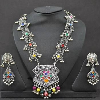 Antique Imitation Heavy Silver Necklace