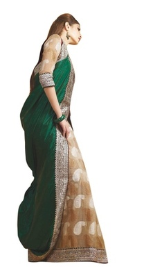Triveni Fabulous Green Colored Party Wear Indian Traditional Border Work Saree