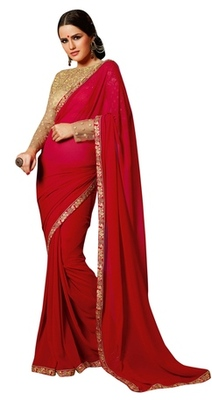 Triveni Amzing Red Colored Bridal Wear Indian Ethnic Border Work Saree
